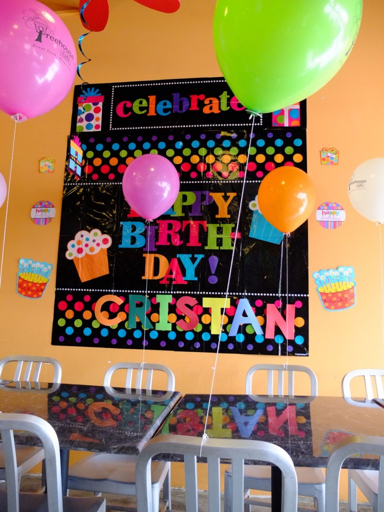 Balloons and birthday banner. Perfect!
