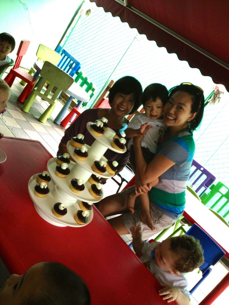 A simple celebration with cupcakes at Cristan's playschool