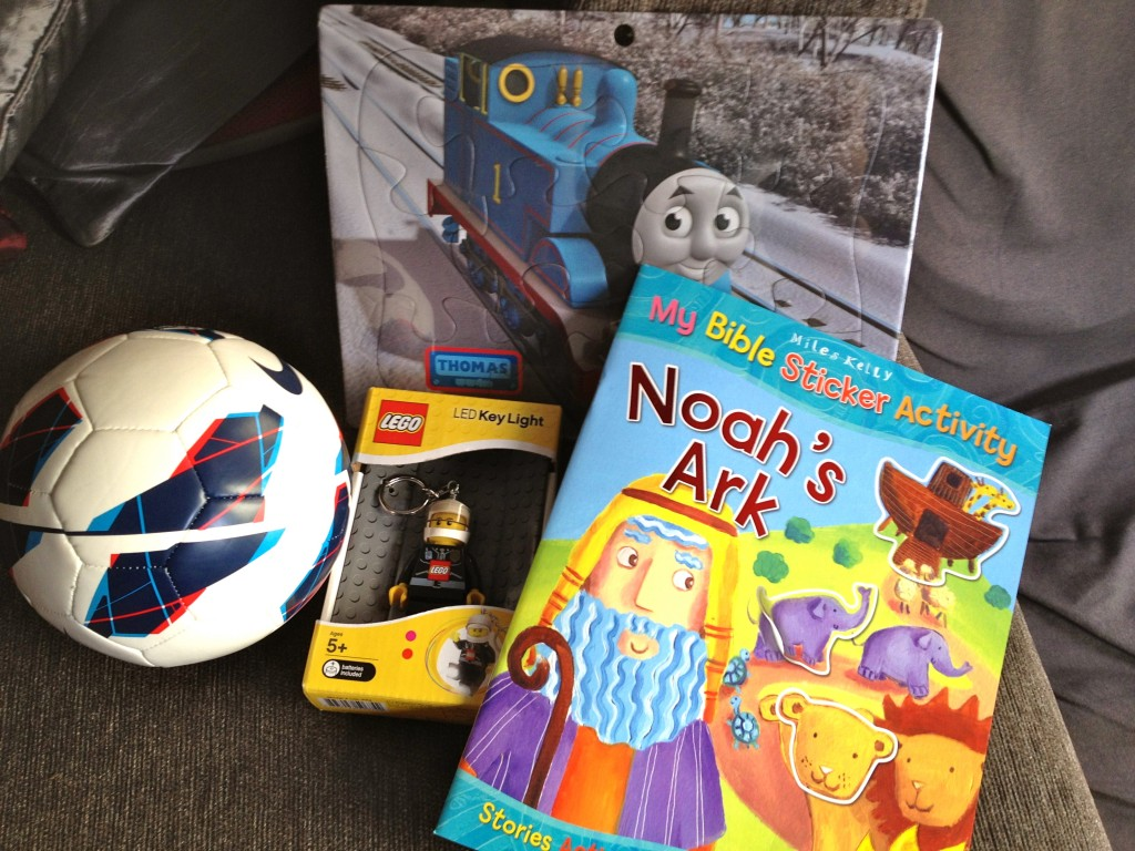 A selection of rewards - I gave him the Noah's Ark sticker activity book yesterday