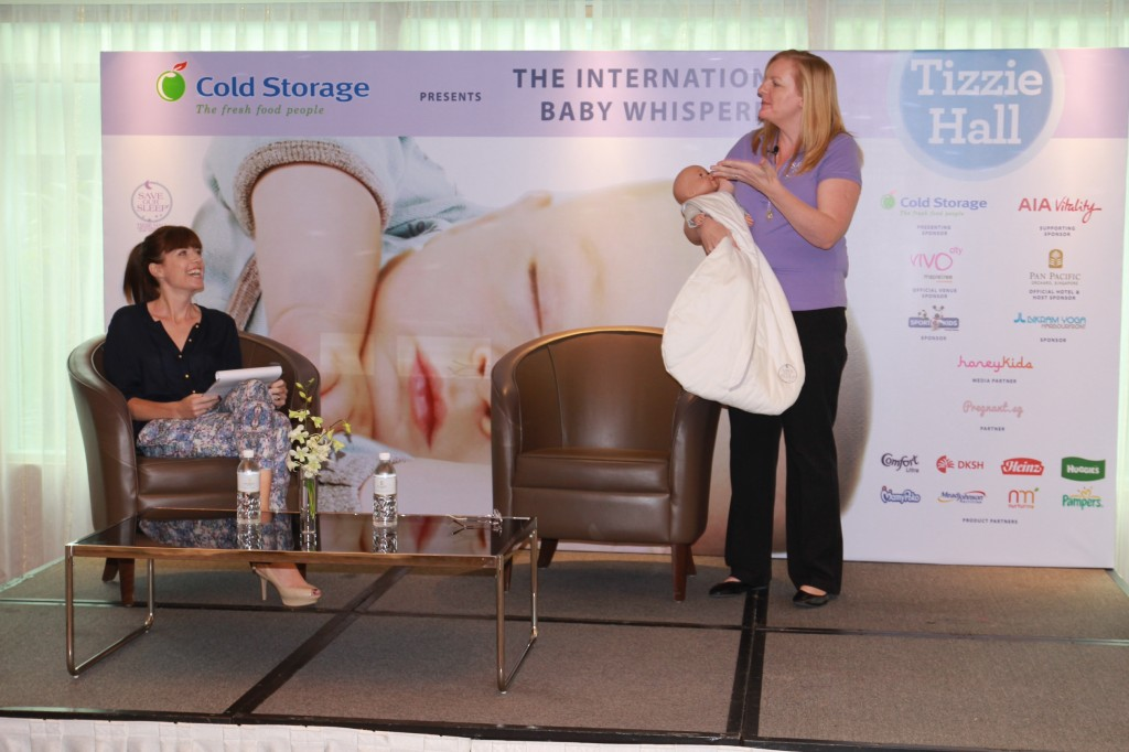 Tizzie sharing some babycare tips with the audience