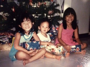 The 3 of us (ages 9, 5 and 1) on Christmas Day 1988.