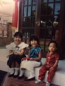 Tan siblings (ages 9, 5 and 1) on Lunar New Year, Feb 1989