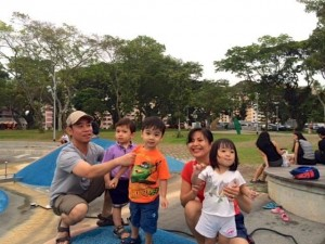 The water play area at Bishan Park is really good for smaller kids