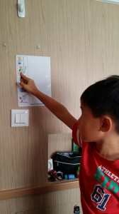 Way going through his checklist for the morning ---  pictures help him stay on course more easily.