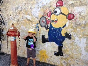 His favourite minions (he calls them bananas coz of the song)