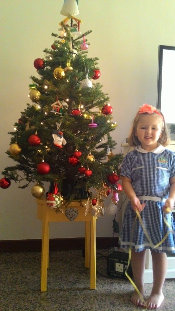 Here's my (now not so little) Siena beside my (now littler) tree ;-)