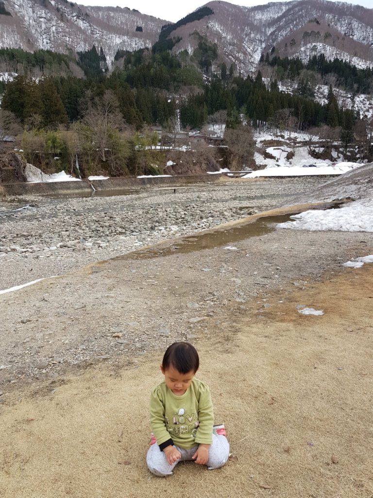 When Lia starts 'rebelling', we know the balance is upset. Here we took a break from our sightseeing and spent 30 minutes by the river to let her do all the dirt-y things toddlers need to do.