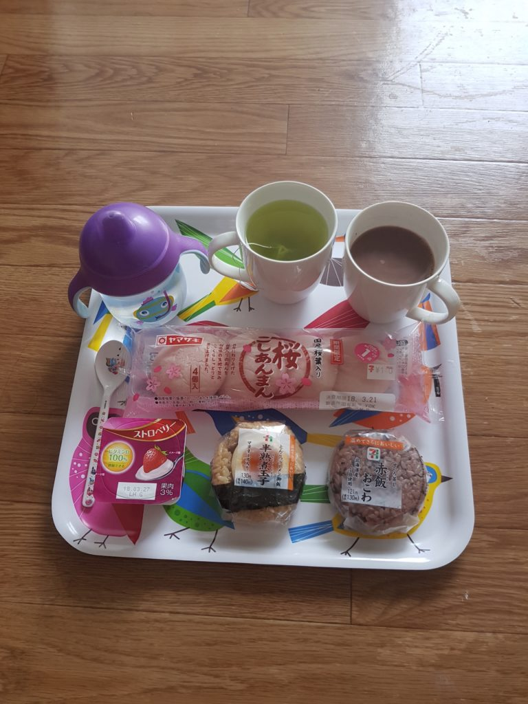 A typical breakfast, all from Japan's amazing convenience chain stores