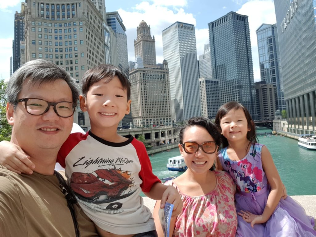 Checking out the famous Chicago Riverwalk