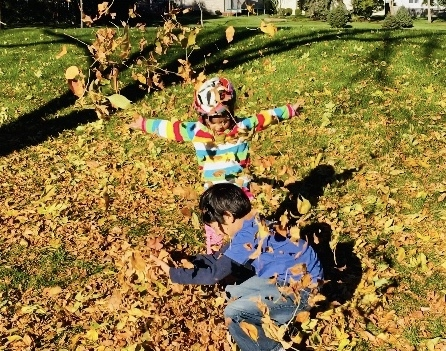 Frolicking in Fall leaves!