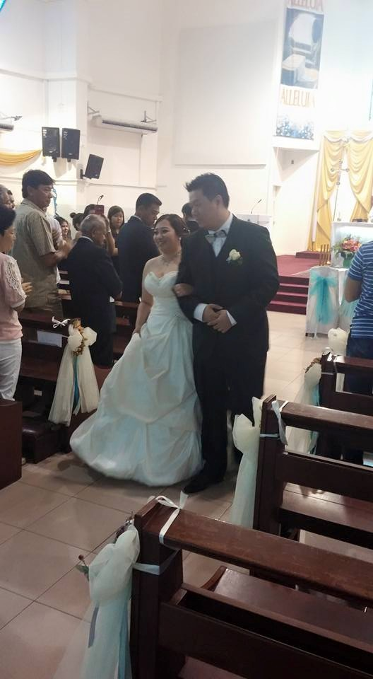 Aloysius Walking Back Up The Aisle Holding Her Hands And Proudly Showing Off My Wife In That Lovely Wedding Dress Way She Wore Beautiful Smile